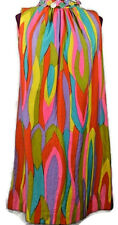 VTG Mod Dress Go Go Bright Psychedelic Scooter Shift Wedding Hippie Sequins 10