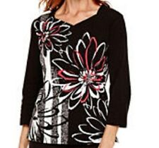 Alfred Dunner shirt size Medium M    , Black w/White and Pink flowers