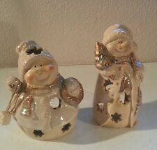 Snowman w/ Snowflakes Cut Outs Tea Light Candle Holder lot