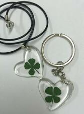 100PCS real cool summer four leaf clover lucid heart fine pendant keychain NG
