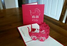 3D Handmade Pop up Card - Beautiful Babies Pram