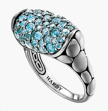 $695 John Hardy sz 7 Kali Lava Small Silver Oval Swiss Blue Topaz Women Ring NEW