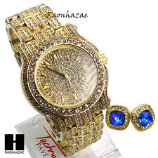 Hip Hop Iced Out Simulated Diamond Techno Pave Watch & Sapphire Earring Set G151