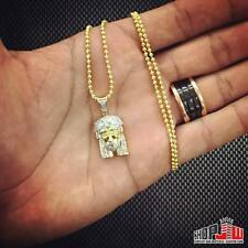 0.50ctw Real Genuine DIAMOND Jesus Piece  Pendant 14K Yellow Gold Finish .925