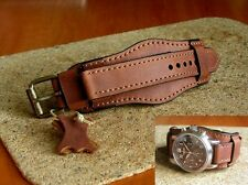 GENUINE LEATHER STRAP MILITARY WATCH BAND  CUFF BRACELET 22mm 0,86 inch BROWN