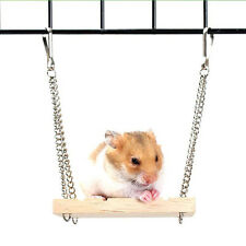 Hot Wooden Hanging Swing Rat Parrot Hamster Bell Suspension Poppled Ladder Toy