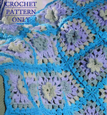 Vintage crochet pattern-how to make a pretty & easy flower afgan,throw,blanket