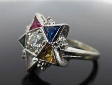 Vintage Kinsley & Sons Gothic Diamond & Gemstone Pentagram 14K White Gold Ring