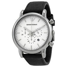 Emporio Armani Chronograph White Dial Black Leather Mens Watch AR1807