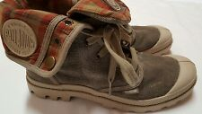 Palladium Tan Brown Canvas Lace Up Boots Fold Over Plaid Womens Size 8 UK 6