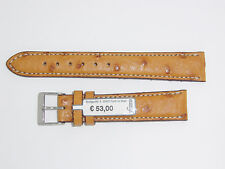 FLUCO (Germany) Genuine Ostrich Leather Watch Band 18 mm Cognac