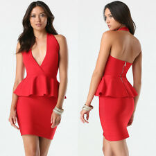 BEBE RED PEPLUM HALTER STRETCH BANDAGE DRESS NEW NWT XSMALL XS