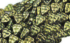 25 METALLIC GREEN CZECH GLASS LEAF BEADS 10MM