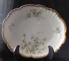"""Antique AK (Klingenberg) LIMOGES France Gold BLUE FLOWERS Pattern 10"""" Oval Bowl"""