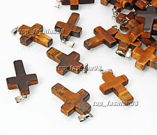 Wholesale 5pcs Natural Cross Tiger Eye Gemstone Silver P Beeads Pendants FREE