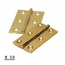 "10 PAIRS 3"" 75mm BUTT DOOR HINGES POLISHED BRASS (20 HINGES) NEW"