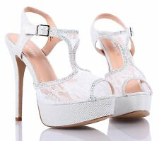 Fashion Open Toe Lace Slingbacks Womens High Heels Wedding Party Dress Shoes