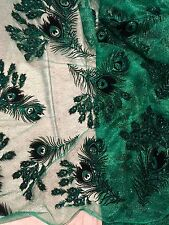 "GREEN MESH W/PEACOCK BLACK VELVET GLITTER FLOCKING FABRIC 52""W 1 YD"