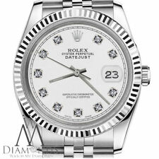 White Diamond Rolex 31mm Datejust 18K White Gold & Stainless Steel Classic Style