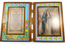 Stained glass double frame with Memorare to Our Lady Miraculous image 18cm gift