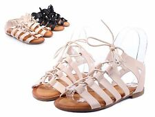 Nude Lace Up Casual Preschool Kids Girls Sandals Youth Gladiator Shoes Size 3