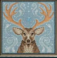 Cross Stitch Kit ~ Mill Hill Buttons & Beads Winter Stag in Snow #MH14-1636