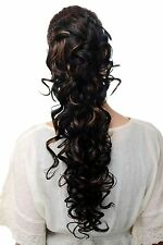 Hair piece Clip-On Braid Clamp Elastic band Black red brown Curls long JL-3266