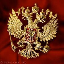 IMPERIAL EAGLE ST.GEORGE CREST RUSSIAN COAT OF ARMS INSIGNIA GOLDEN METAL BADGE