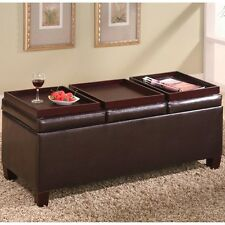 Coaster Dark Brown Leather Storage Ottoman with Reversible Trays