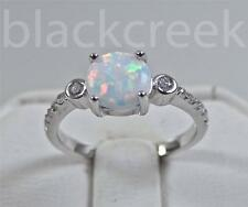 7mm Round~ White Fire Opal ~  925 Sterling Silver~Lady's  Promise Ring Sz 8
