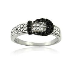925 Sterling Silver Black Spinal Buckle Ring
