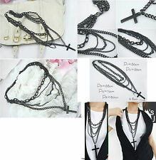 BLACK 5 TIERED CHAIN NECKLACE WITH BLACK CROSS KP53 GIRLS TEENS WOMEN