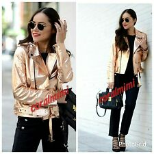 Zara NEW ROSE GOLD REAL LEATHER METALLIC BIKER JACKET SIZE S