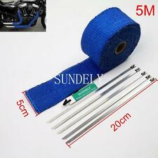 New 5m High Heat Insulation Fiberglass Wrap Exhaust Header Pipe Tape Cloth Blue