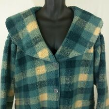 Anthropologie Swing Coat Fleece Sherpa Blue Check Buffalo Plaid Womens Sz L EUC