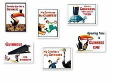 "GUINNESS  SET  -  SIX  7x5"" Prints - NOSTALGIC  RETRO SIGN - VINTAGE POSTER ART"