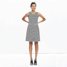 Madewell J Crew~Afternoon Dress in Stripe Black White Sleeveless~XL~NWT  BC