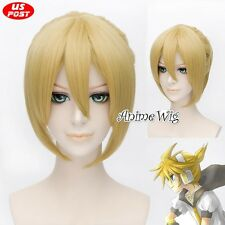 Vocaloid Kagamine Len 35CM Yellow Blonde Straight Hair Cosplay Wig + Ponytail