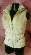 GUESS Faux Fur Leather Vest Jacket Coat Milk White Gold Zippers Winter NEW XS