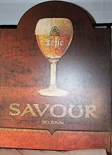 "Wooden Abbey de Leffe Sign beer bar pub Belgium Bruin Blond 24"" x 18""x 1/2"""