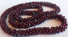 Vintage Artisan Genuine Natural Pyrope Garnet Cluster Bead Necklace Estate 85 GR
