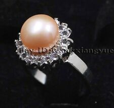 Genuine 9-9.5MM Pink Akoya Cultured pearl ring Free Shipping!!!