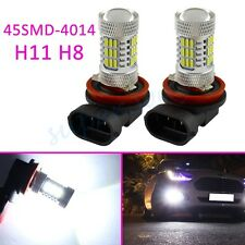2x White 45SMD H11 H8 Fog Driving Light LED Bulbs Lamp Projector Accessories