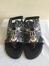 New PIERRE HARDY Lily Flat Floral Sandals Shoes 39.5/9.5, Black
