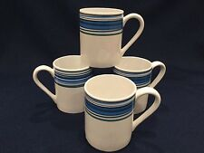 Set of 4 Corelle Coordinates Stoneware Cup Mug White with Blue Gray Green Stripe