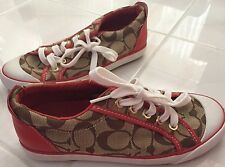 Lds Coach Signature Bartlett Tan With Red Leather Sneakers Shoes Size 5