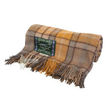 75% WOOL SCOTTISH TWEED TARTAN RUG / BLANKET / THROW - BUCHANAN NATURAL