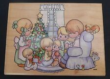 Rare Precious Moments Family Christmas Rubber Stamp Children Tree Bible Reading