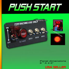 Red led switch Push Button Start Switch TOGGLE Engine Start Panel - Black Ring