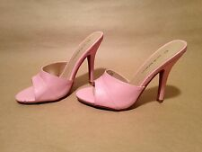 C Label Milan-16A Baby Pink Peep Toe Mule Sandals Slides Heels Sexy Party Shoes
